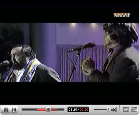 Pavarotti joins James Brown in a duet